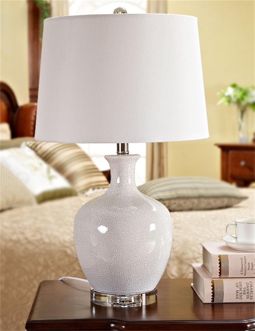 HYNH Chinesische Keramik einfache Kristalllampe stilvolle Wohnzimmer Schlafzimmer Arbeitszimmer Nachttischlampe Kinder Tischlampe