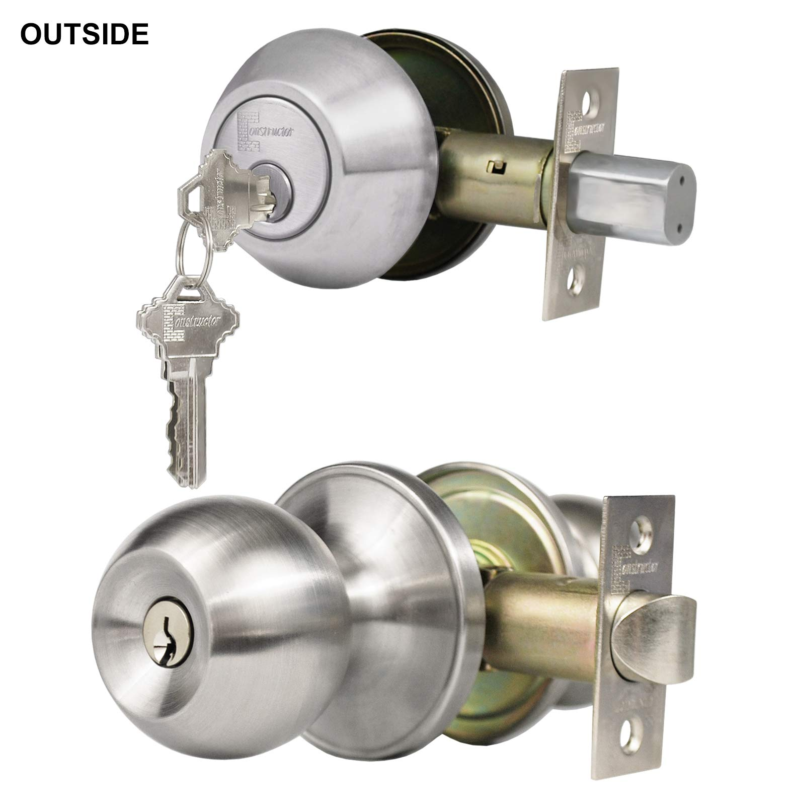 Constructor Chronos CON-CHR-Combo-SS Knob and Deadbolt Stainless Steel Single Cylinder Keyed Alike