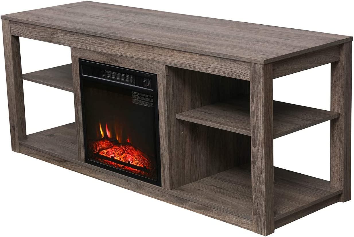 Espresso VACA KEY 47 Wide Electric Fireplace TV Stand Console for TVs up to 55,for Living Room
