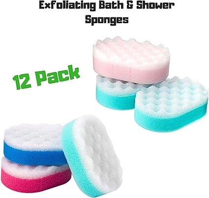 Paquete De 12 Exfoliante Esponjas Baño Ducha 2 cara Esponja: Amazon.es: Belleza