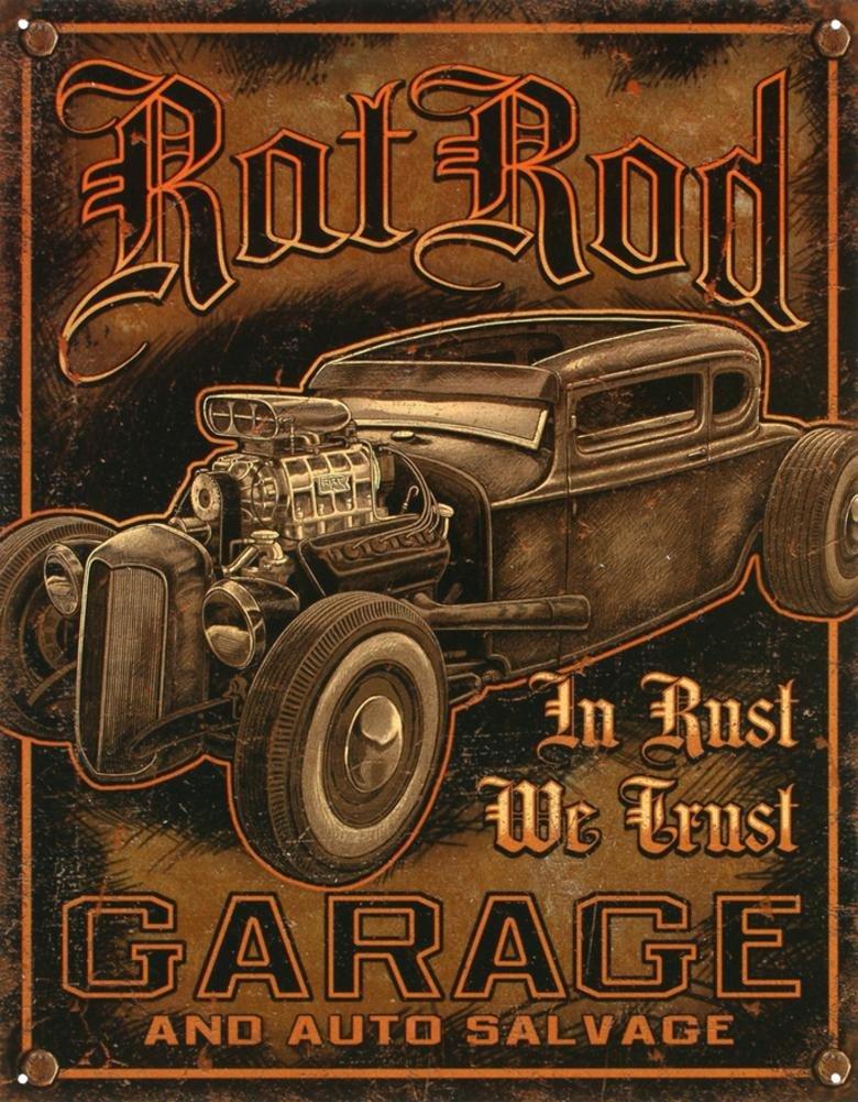 Rat Rod Garage Distressed Retro Vintage Tin Sign 13 x 16in DES