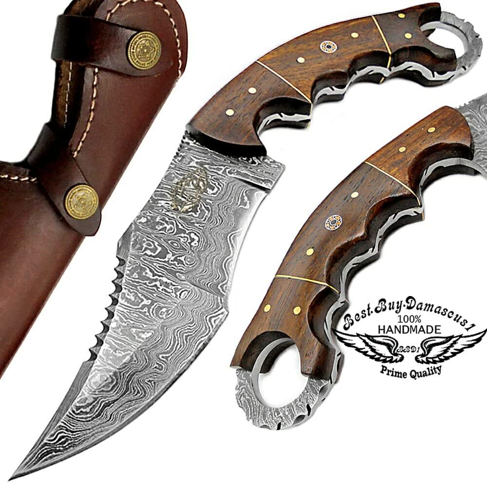 Rose Wood 9.5 Fixed Blade Custom Hand Made Damascus Steel Hunting Knife 100 Prime Quality with Leather Sheath
