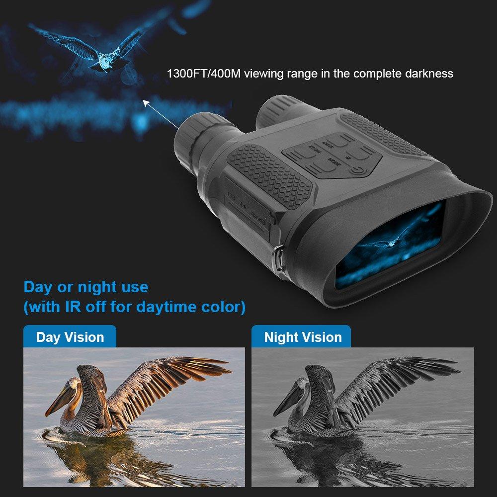 400M Toma Video de 5mp y 640p Binocular Digital de Visi/ón Nocturna para Cazar 7x31mm con Tft LCD HD De 2 Pulgadas C/ámara IR y Videoc/ámara IR Infrarrojo El Rango de Visi/ón De 1300ft