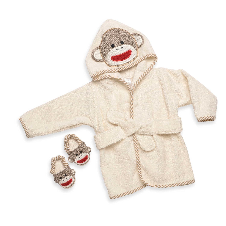 Sock Monkey Hooded Bath Robe Towel & Slipper Gift Set (0-9 Months) Rashti & Rashti