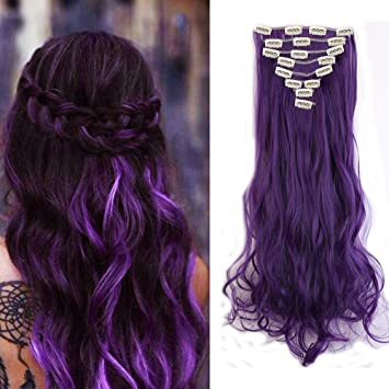 Amazon clip in hair extensions synthetic full head clip in hair extensions synthetic full head hairpieces japanese kanekalon fiber thick long wavy curly soft pmusecretfo Gallery