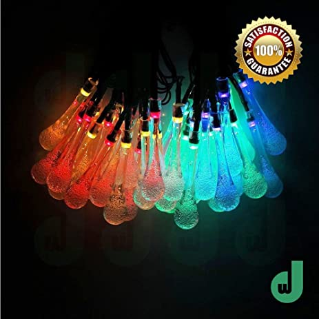 DW LED String Lights Indoor Outdoor Water Droplets Shape 20 LEDs Warm White Party  Lights Christmas