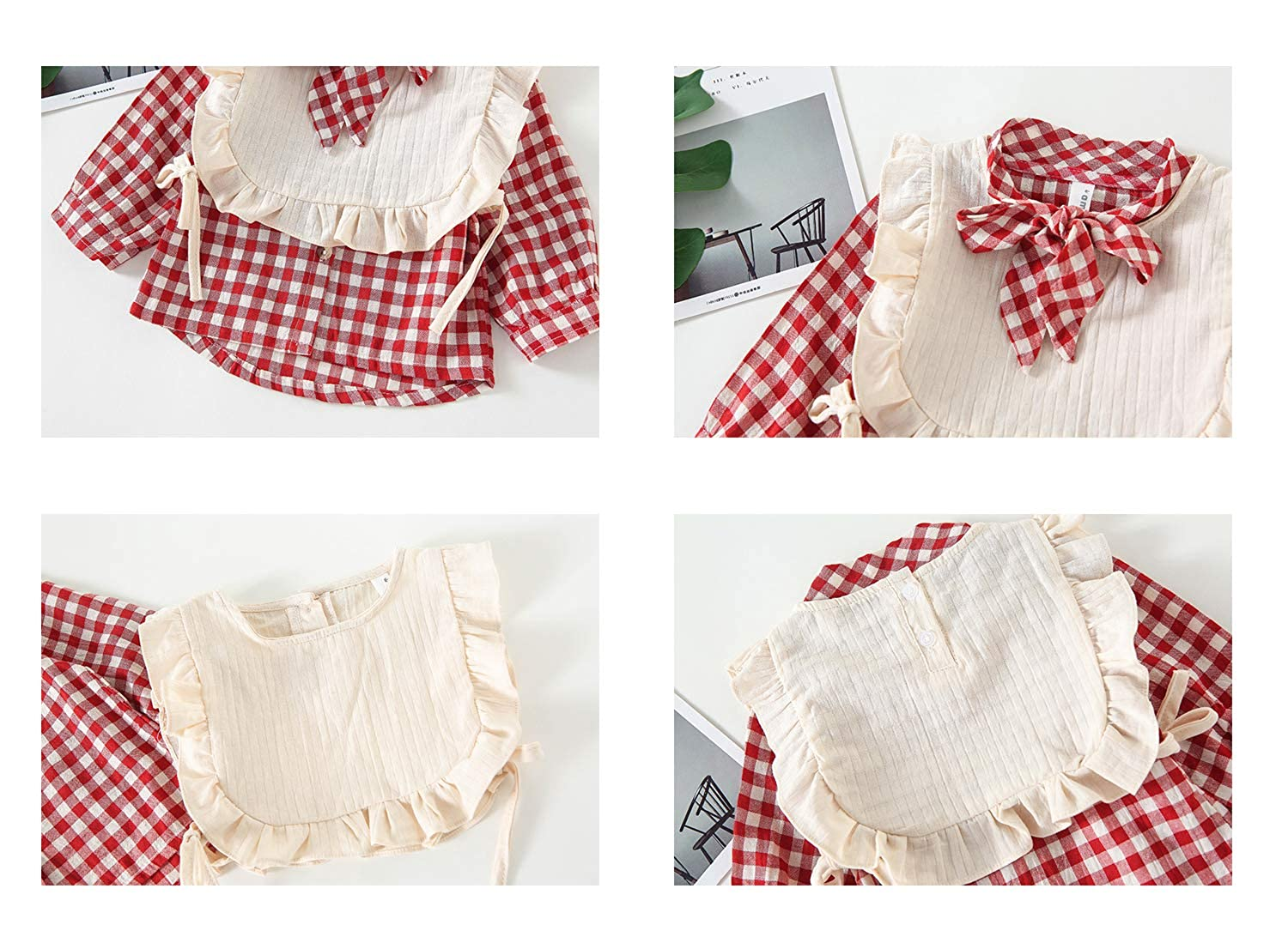 FCQNY Baby Little Girls Adorable Clothes Stes Plaid Button-Down Shirts Tops+Vest