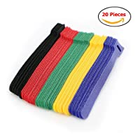 Pack of 20x Reusable Nylon Hook & Loop Network Cable Cord Ties Straps Assorted Colour Organiser (20)