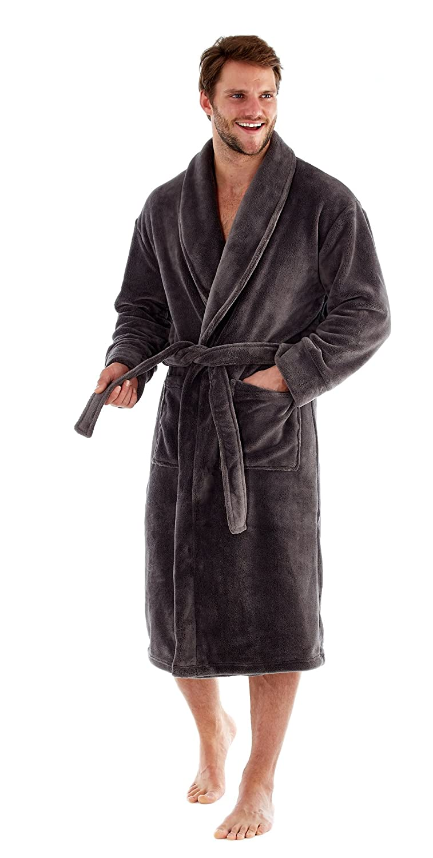 Harvey James Mens Luxury Supersoft Shawl Collar Dressing Gown. Navy Or Grey. Sizes M L XL XXL TRU000036