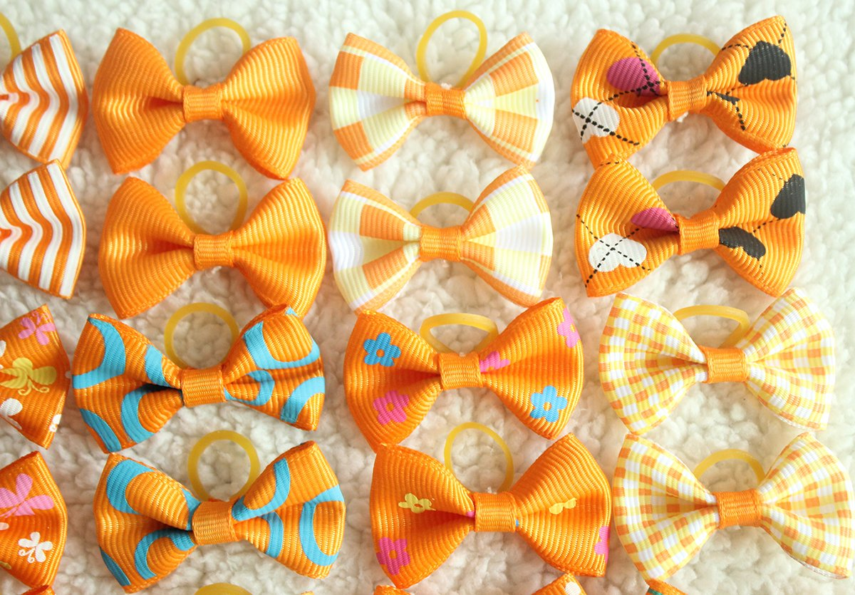 yagopet 40pcs/20pairs Small Dog Hair Bows Autumn Dog Bows Orange Dog Hair Bows Topknot Mix Designs Small Bowknot with Rubber Bands Pet Grooming Products Dog Hair Accessories by yagopet (Image #4)