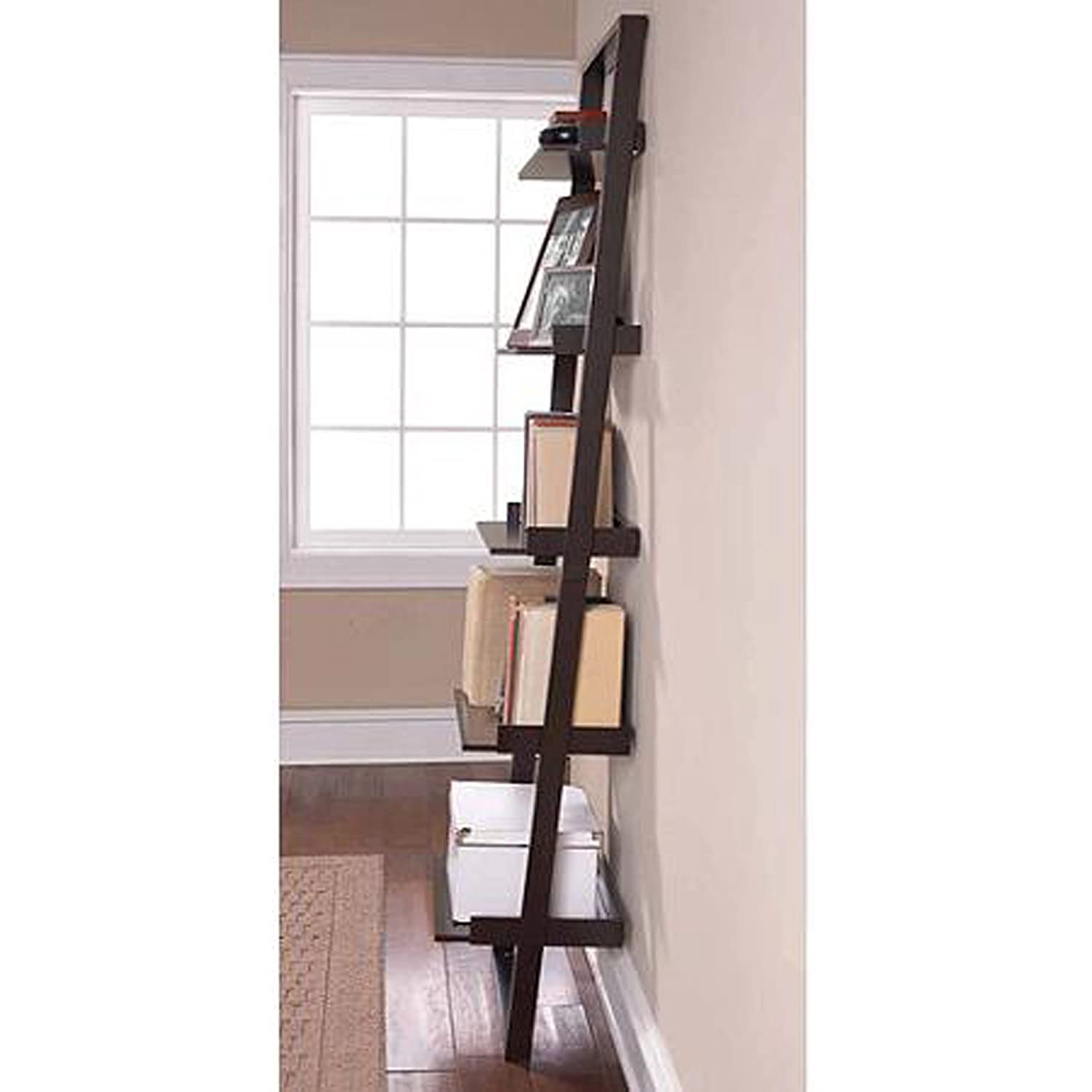 bookcases accent espresso inside mainstays storages leaning shelf popular furniture most ideas ladder latest view bookcase