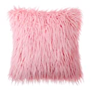 Phantoscope Decorative New Luxury Series Merino Style Pink Faux Fur Throw Pillow Case Cushion Cover 18  x 18  45cm x 45cm