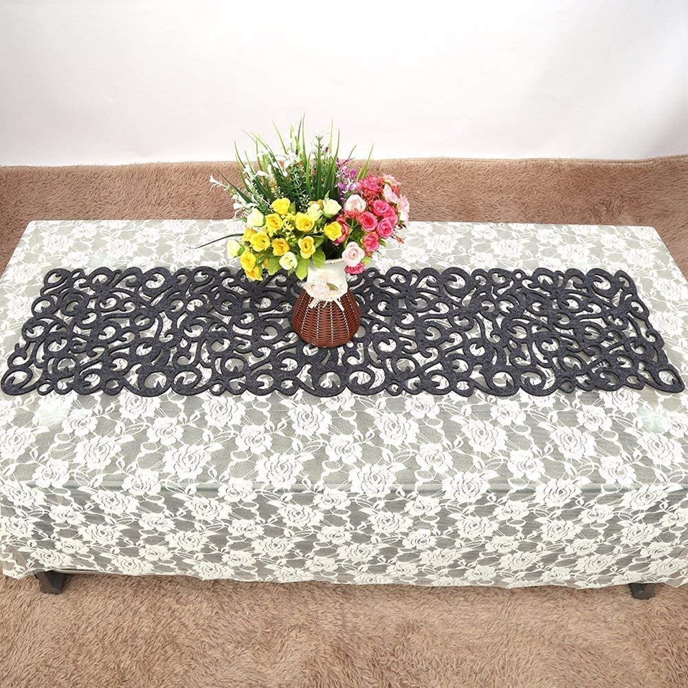 color gris oscuro decoraci/ón para tu habitaci/ón banquetes fiestas Camino de mesa de fieltro rectangular para bodas dise/ño hueco de flores 100 x 30 cm lavable