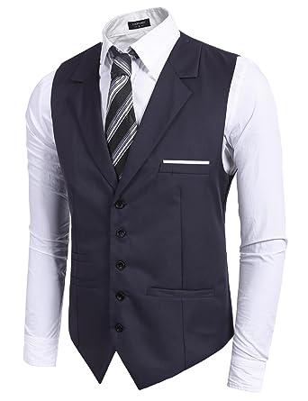 Coofandy Chaleco de Traje Hombre Formal Blazer sin Manga de Vestir Ajustable