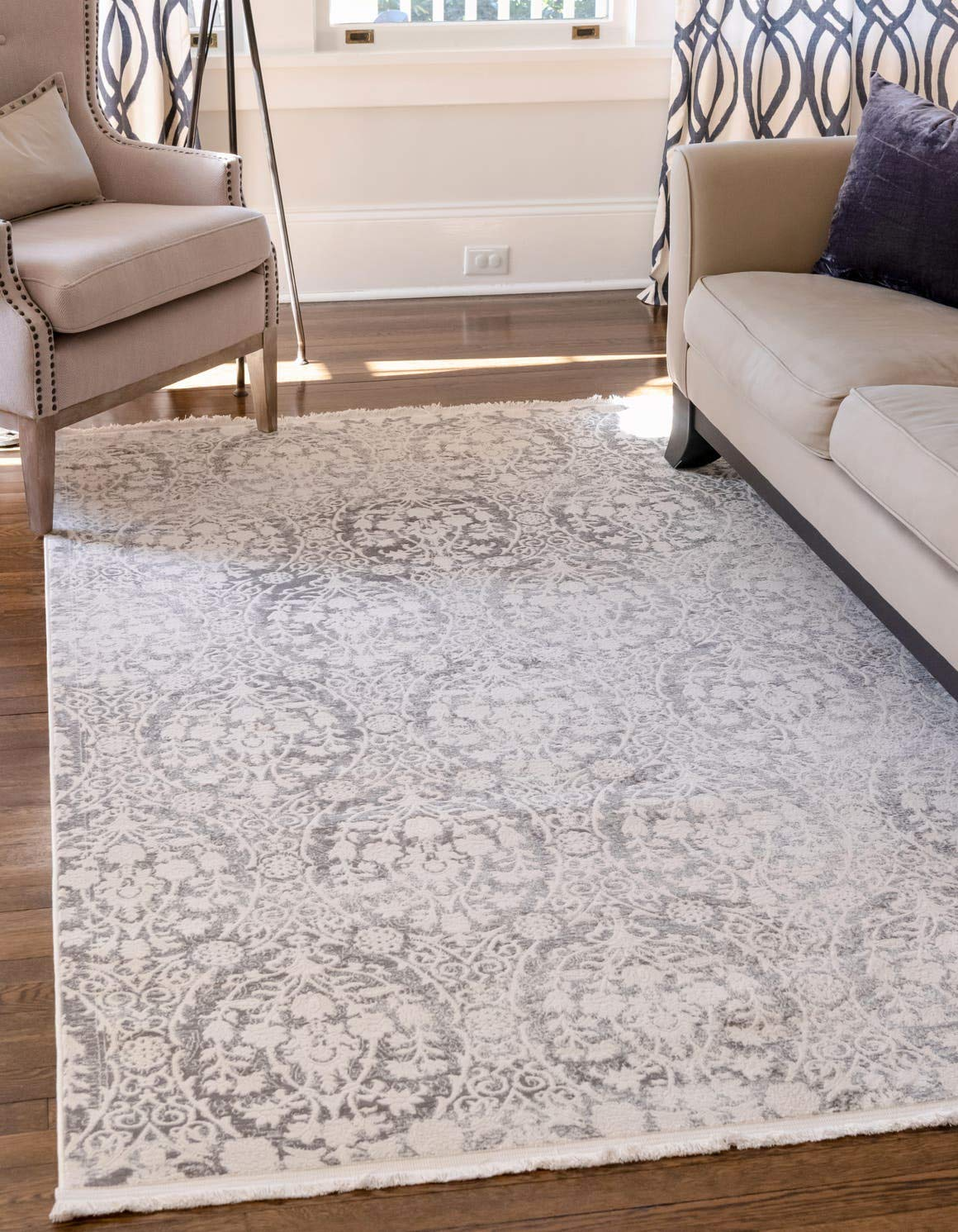 Unique Loom New Classical Collection Traditional Distressed Vintage Classic Light Gray Area Rug 5 0 x 8 0