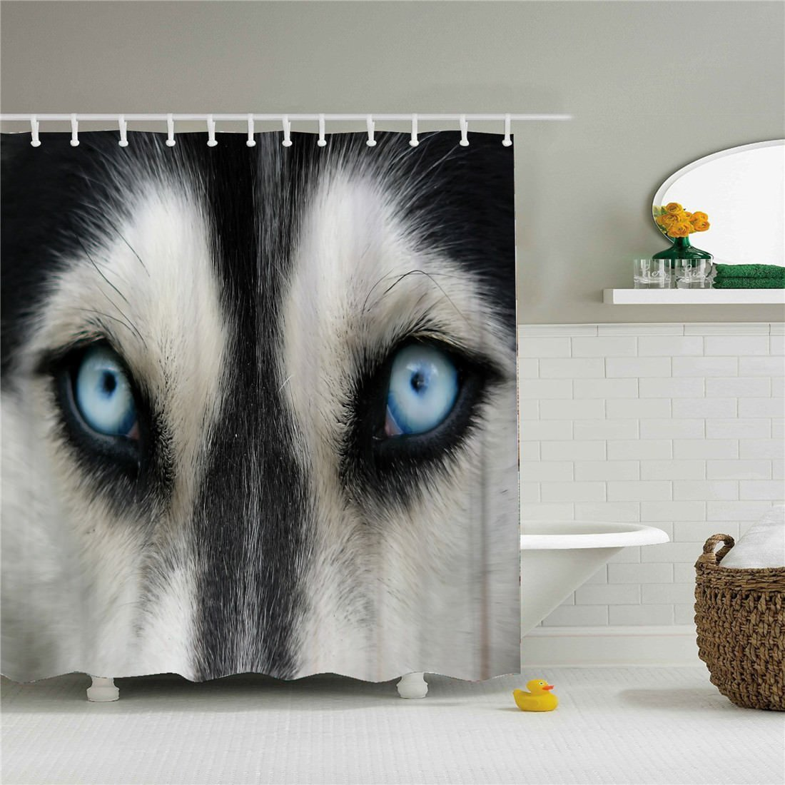 starlight-Bracele Bathroom shower curtain, Wolf with blue eyes, black, white,waterproof, mildew proof, machine washable, environment-friendly material, odorless 60x72 inch