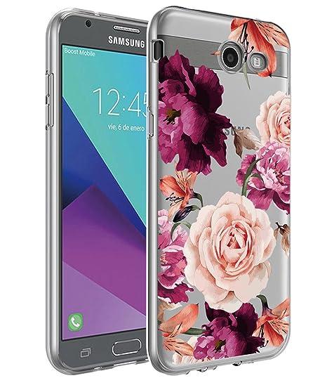 hot sale online c30a0 9be54 Galaxy J7 V Case,Galaxy J7 Prime Case, BAISRKE Slim Shockproof Clear Floral  Pattern Soft Flexible TPU Back Cove for Samsung Galaxy J7 V / J7 2017 / J7  ...