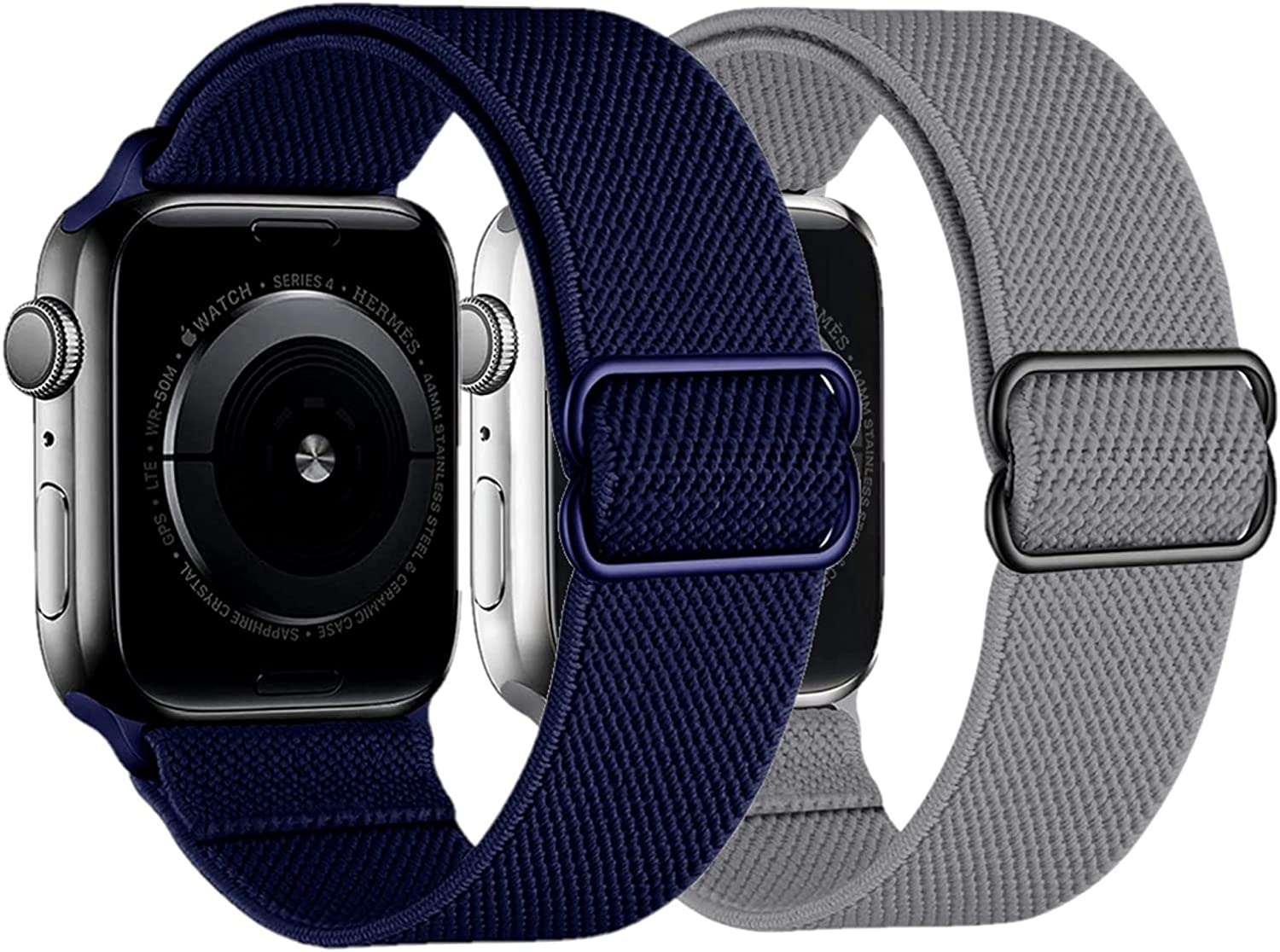 2 Pack Stretchy Straps Compatible with Apple Watch Bands 42mm 44mm, Adjustable Braided Solo Loop Nylon Bands Compatible for iwatch series 6/5/4/3/2/1/SE Men & Women, Deep Grey/Deep Navy Blue