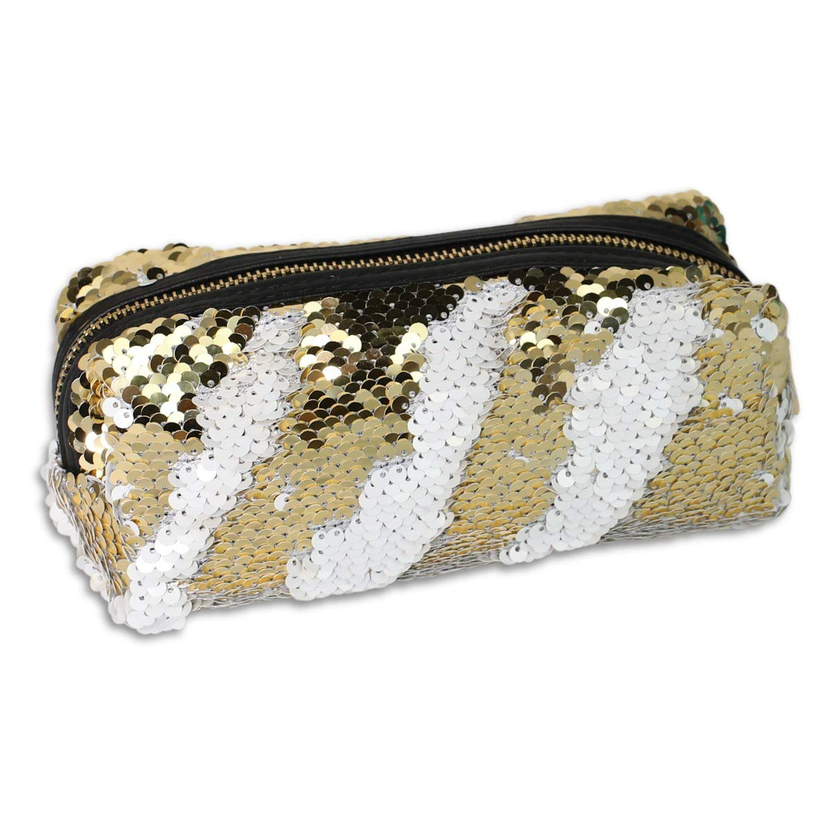 Funky Monkey Fashion Makeup Cosmetic Bag | Students Pencil Case Glitter | Reversible Mermaid Sequin Kids Pouch Women Fashion Handbag - Gold and White