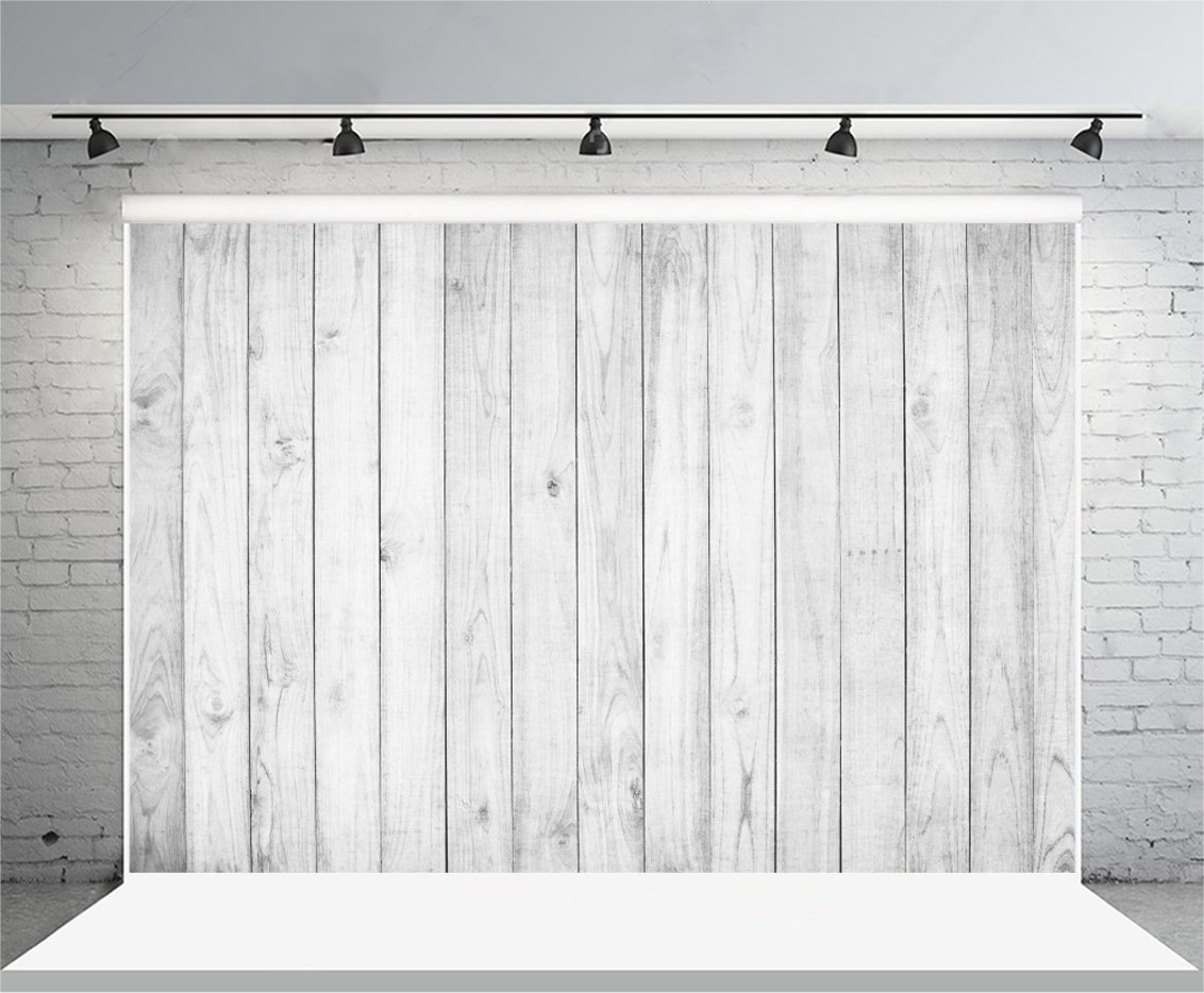 Yeele Wooden Plank Backdrops 7x5ft/2.2 X 1.5M White Gray Shabby Retro Wood Floor Pictures Baby Adult Artistic Portrait Photoshoot Props Photography Background Wallpaper