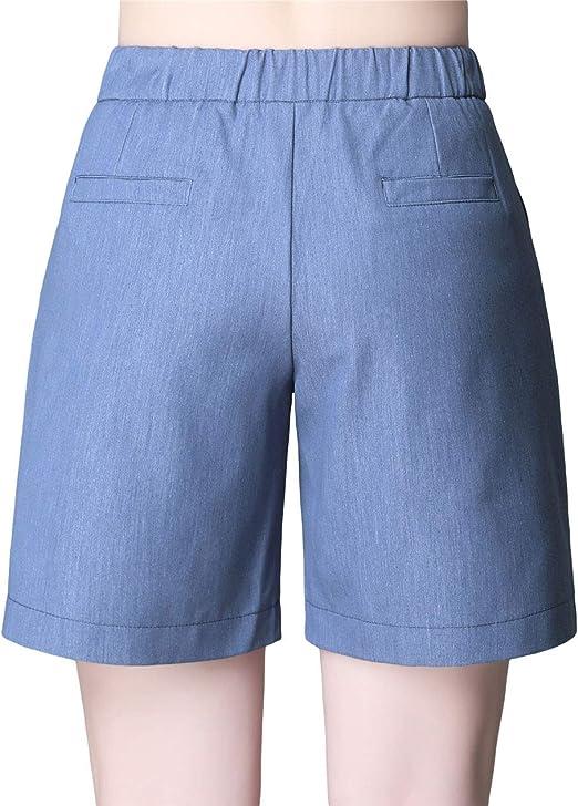 Stitch /& Soul Damen Chino Bermuda Shorts mit Flechtg/ürtel