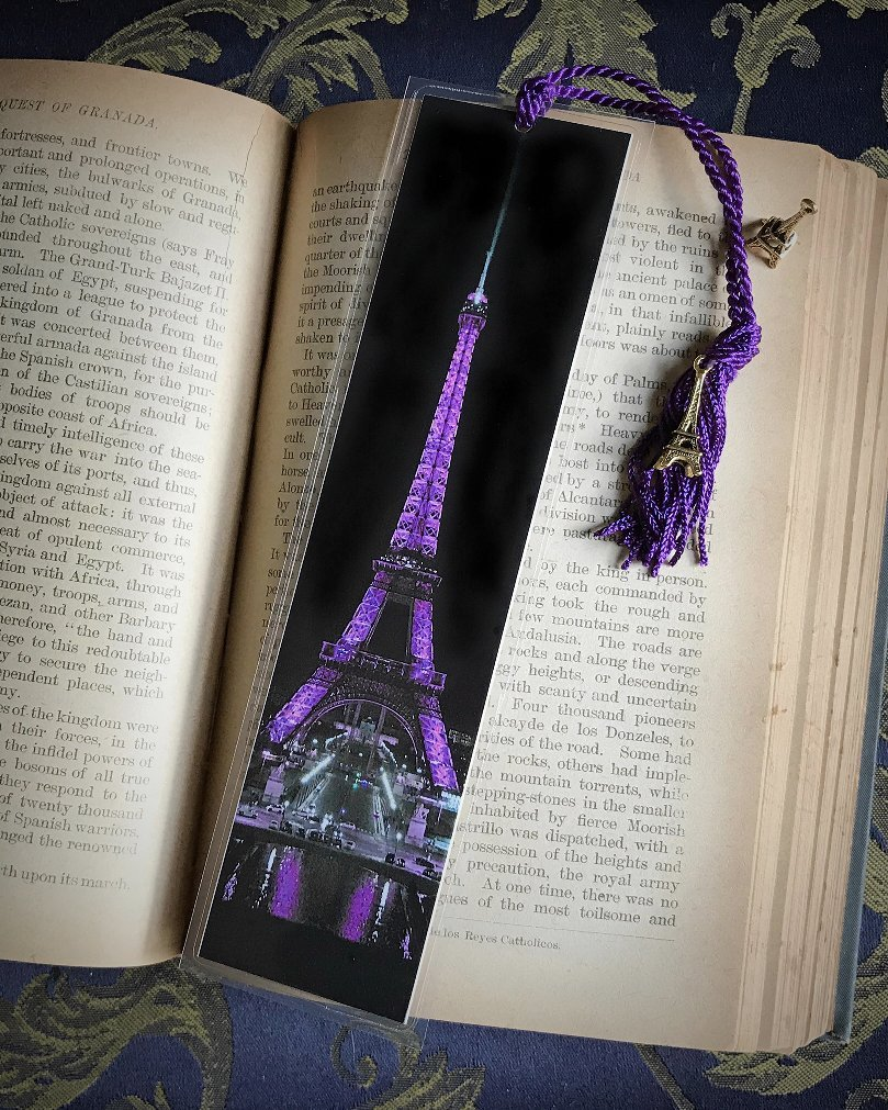 The Eiffel Tower in Purple Paris France Europe at Night City Lights Bookmark w/Gold Tone Tower Charm Fine Art Photography Photo Laminated Handmade Bookmark by JWPhotography Gallery