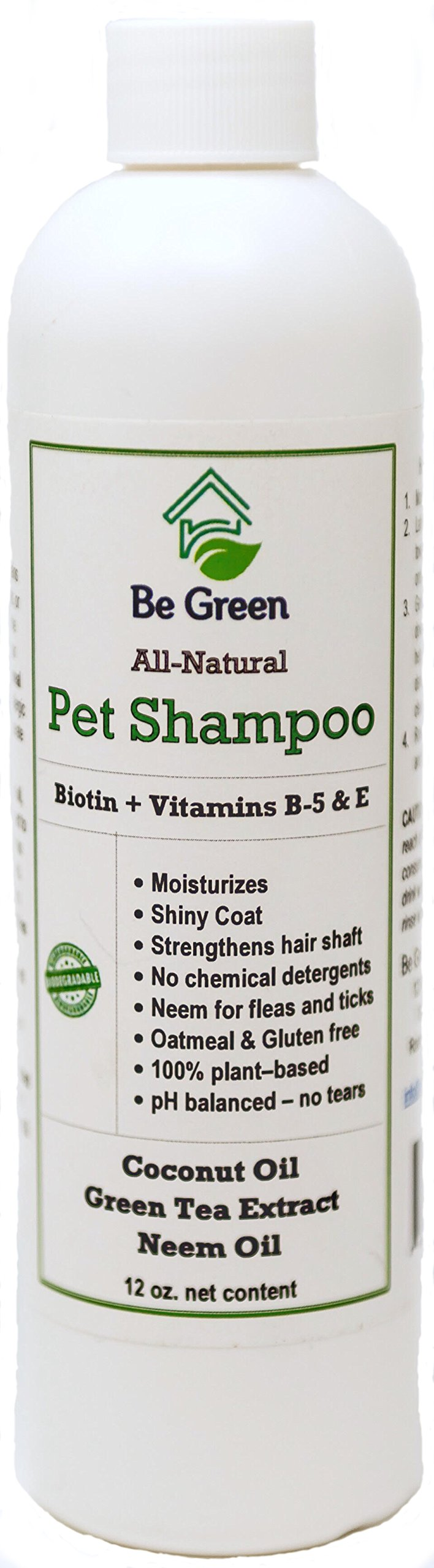 Be Green All Natural Pet Shampoo - Soothes Dry, Itchy, or Sensitive Skin - with Coconut Oil, Green Tea Extract, Biotin, Vitamins B and E, Chemical Free, Oatmeal Free and Biodegradable