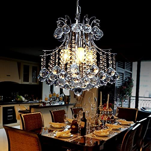 Lightess Crystal Chandelier Modern Ceiling Pendant Hanging Light Fixture with 6 Lights