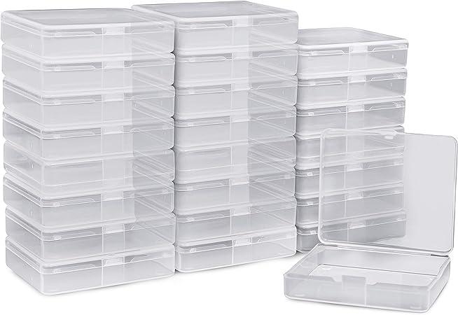 BELLE VOUS Caja de Plástico Almacenamiento (24 Pack) - (6,3x7,2x1,7cm) Rectángulo Transparente Mini Plastico Organizador con Tapas para Cuentas Pequeñas, Pastillas, Joyería Hallazgos y más: Amazon.es: Hogar
