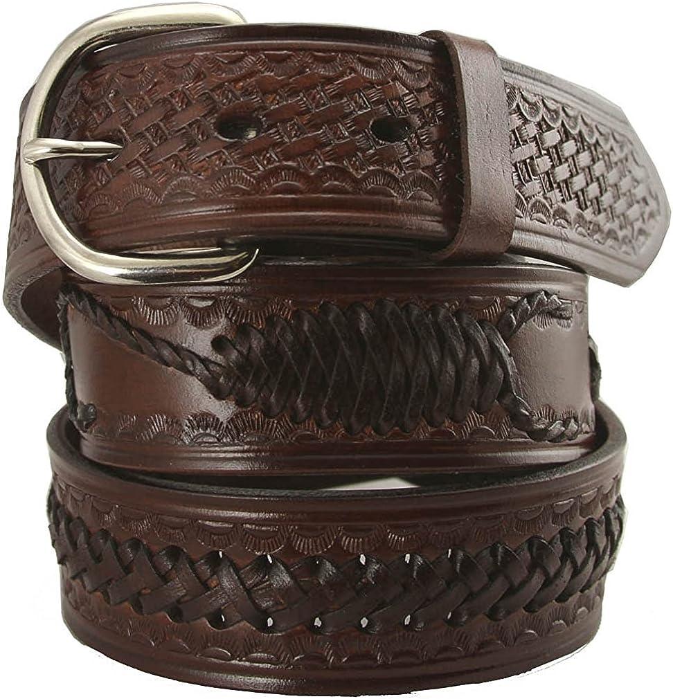 Hagora Men 1-1//2 Wide Genuine Cowhide Embossed /& Braided Metal Buckle Belt