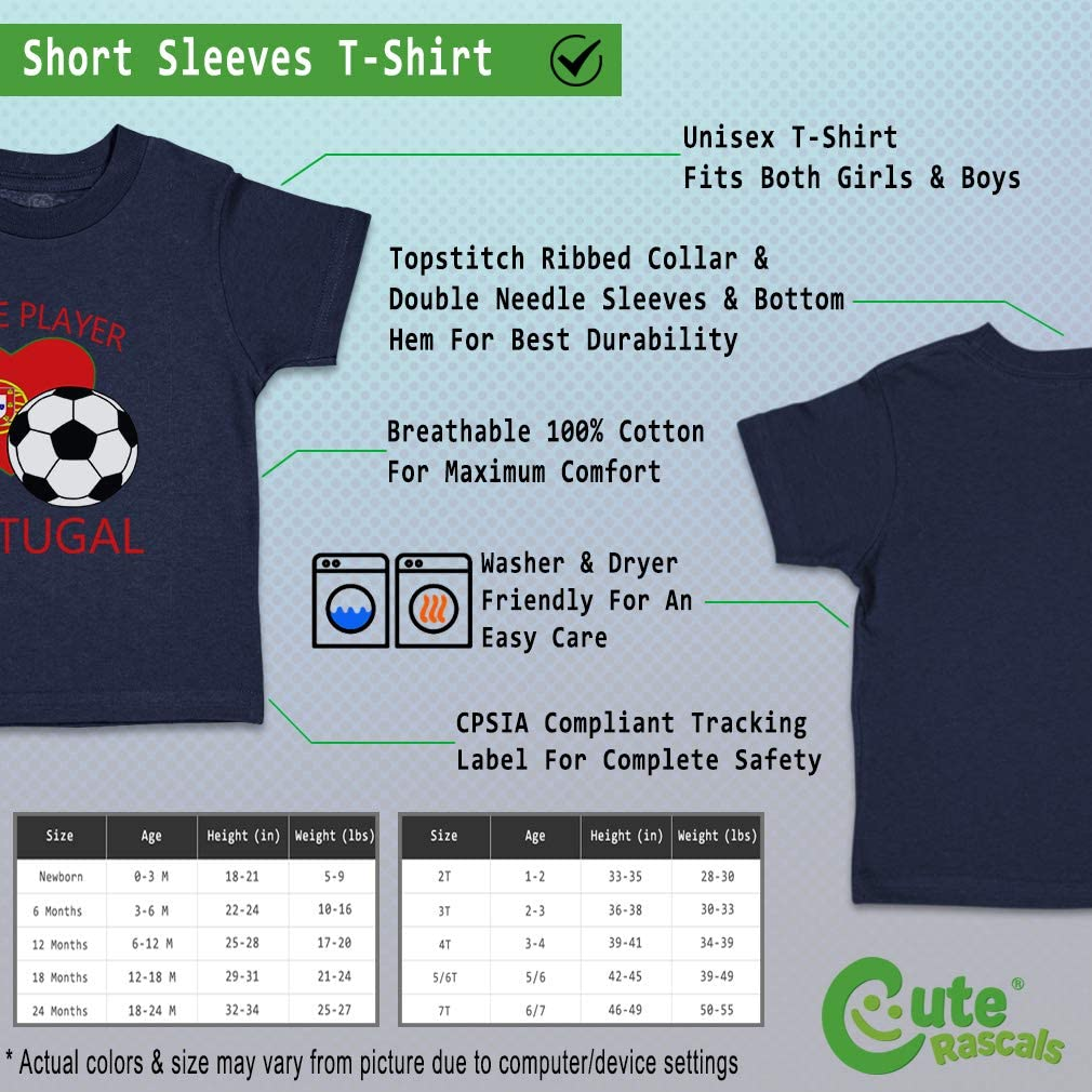 Custom Baby /& Toddler T-Shirt Future Soccer Player Portugal Boy Girl Clothes