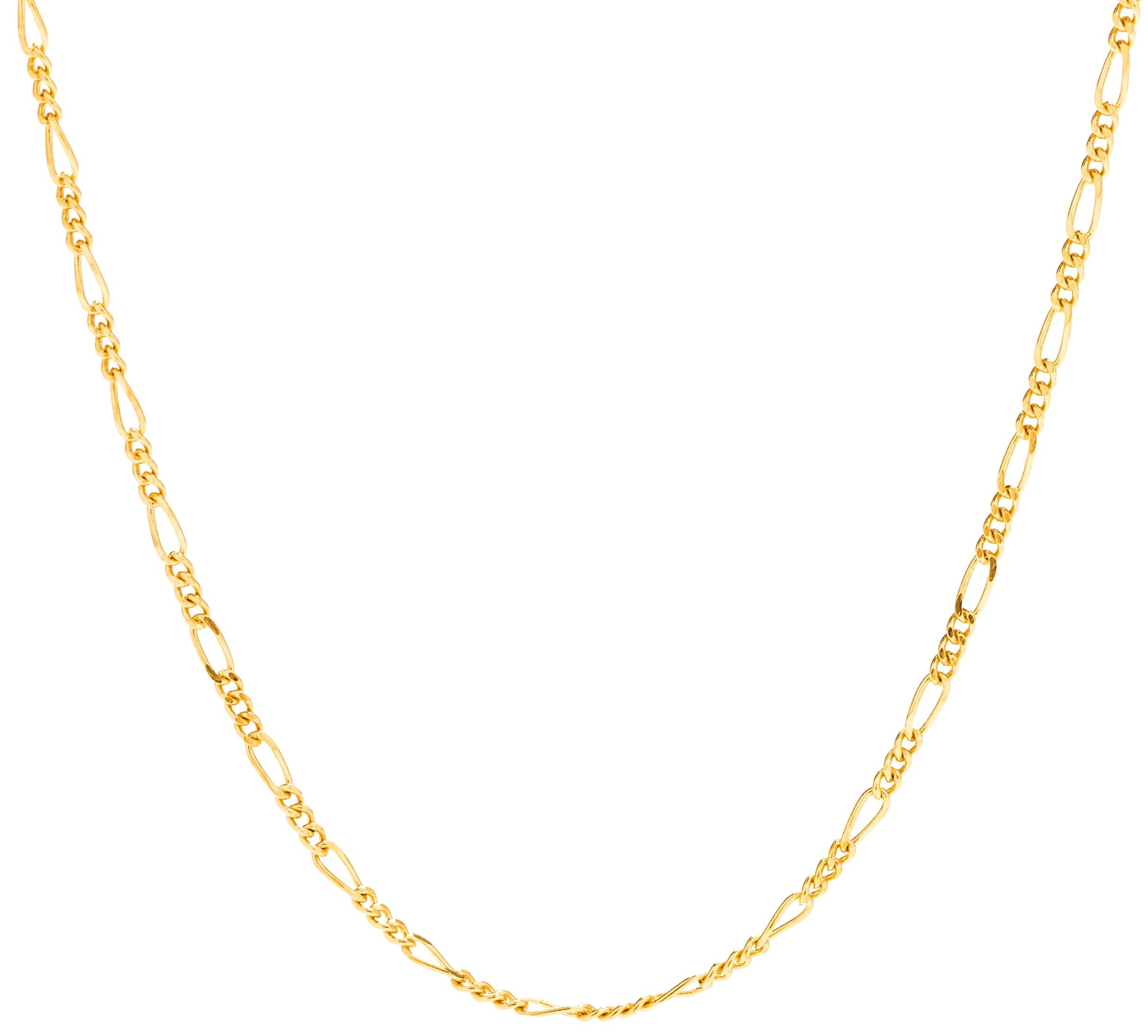 Lifetime Jewelry Figaro Chain 1.5MM, 24K Gold with Inlaid Bronze, Premium Fashion Jewelry, Pendant Necklace Made Thin For Charms, Guaranteed for Life, 18 Inches by Lifetime Jewelry (Image #1)