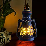 ExclusiveLane 9 Inch Terracotta Balcony Hanging Lamp Cum Living Room Decorative Table Lantern (Blue) (15.01 cm x 15.01 cm x 15.01 cm)