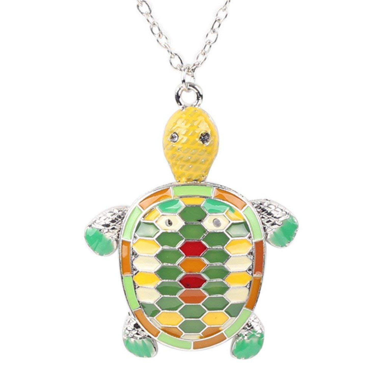 Alloy Fine Enamel Tortoise Necklace Chain Pendants Jewelry For Women Charm Collar Animal,Green