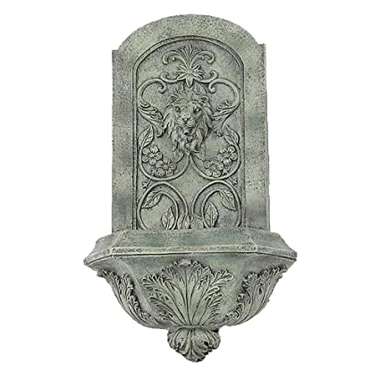 Sunnydaze Decorative Lion Outdoor Wall Fountain, French Limestone Finish,  25 Inch Tall