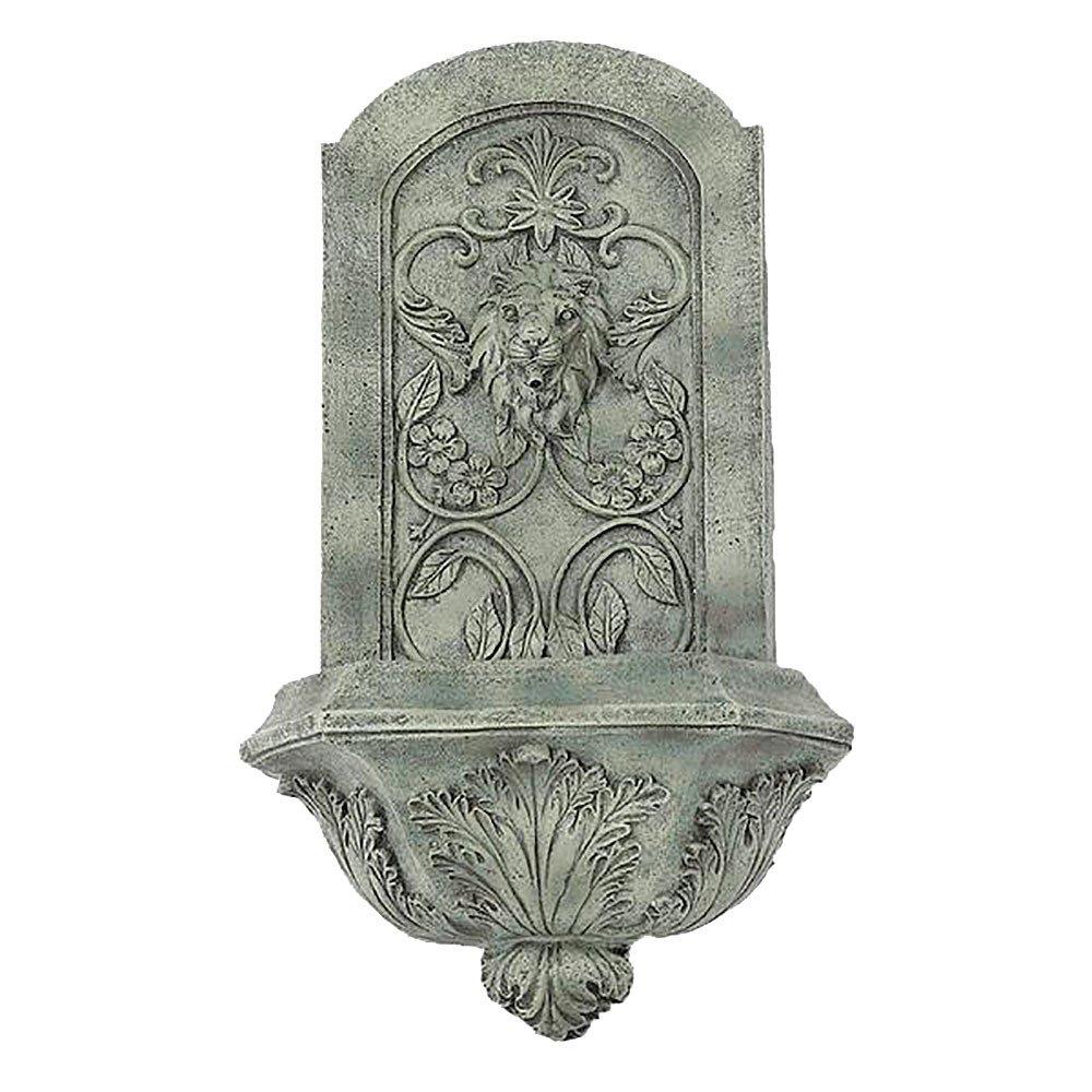 Sunnydaze Decorative Lion Solar Wall Fountain, French Limestone Finish, 25 Inch