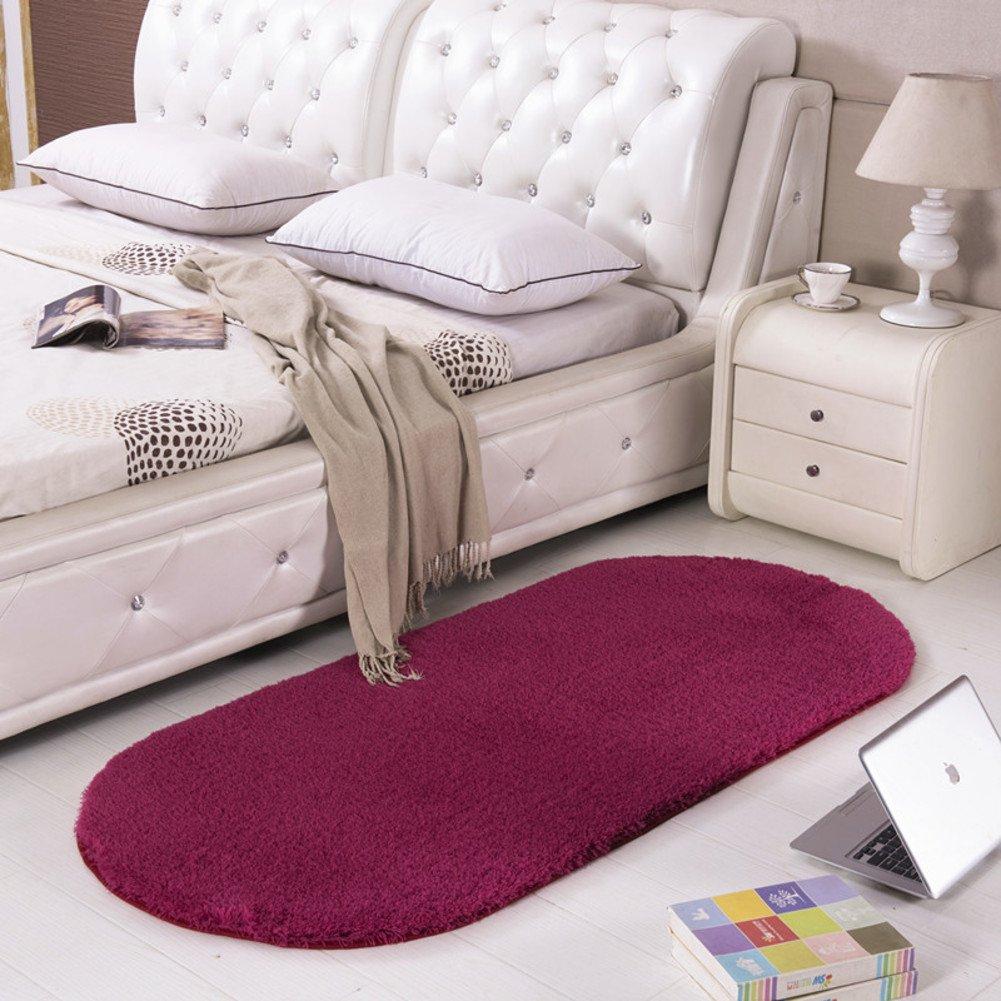 毛布の寝室ベッドサイド楕円形カーペットファッションソリッドカラーカーペット 100x200cm(39x79inch) nfatoto 100x200cm(39x79inch) H B077RX97W9