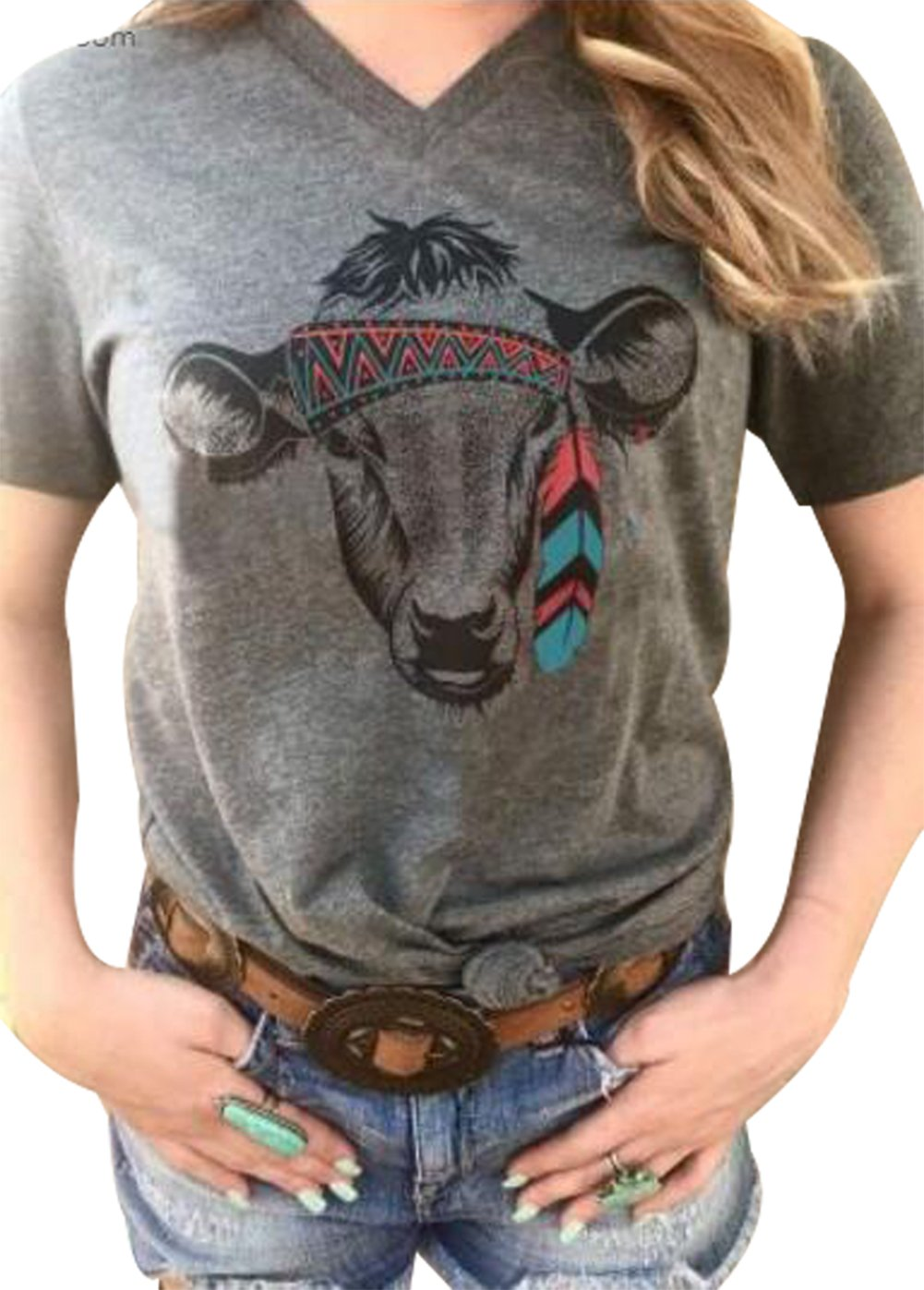 Tribal Cow Head Funny T-Shirt Women's V-Neck Short Sleeve Animal Print Tops Tee Size XL (Gray)