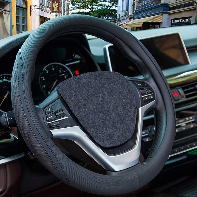 ECD Germany Coprivolante in Verra Pelle Nera 37-39 cm Copertura Volante in Pelle Verra Colore Nero Protezione Volante Auto Confortevole Coprivolante per Auto Universale con Diametro da 37-39 cm Nero
