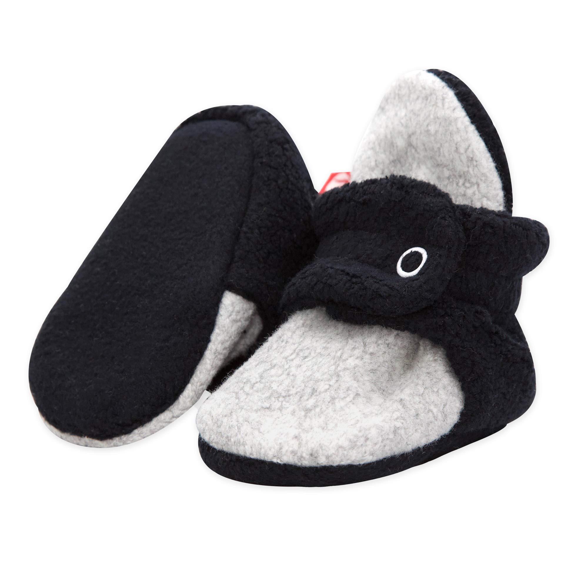 Zutano Double Layer Fleece Baby Booties, Black/Gray