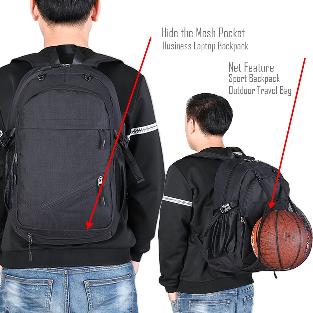 Laptop Bags, Backpack with Basketball Nets Mesh Sports Business Backpacks,Casual Travel Daypack Computer Shoulder Bag with USB Charging Port,Rain proof cover Fits UNDER 15 inch (Black) by TEGOOL (Image #4)