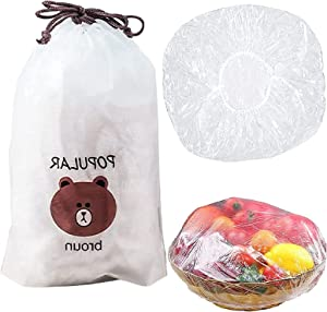 Fresh Keeping Bags, 100PCS Reusable Elastic Food Storage Covers, Plastic Bowl Covers with Elastic Edging Stretch Plastic Wrap Bowl Covers