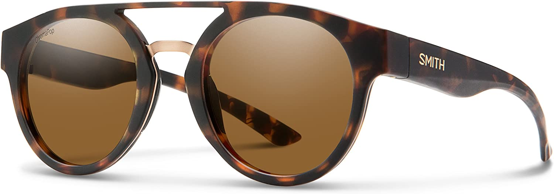 Smith Range Round Sunglasses, Matte Havana ChromaPop Polarized Brown, One Size