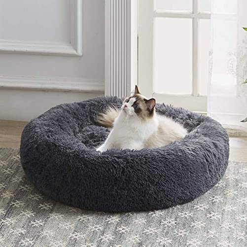 Western Home Faux Fur Dog Bed Donut Cuddler Pet Calming Beds for Medium Small Dogs and Cats