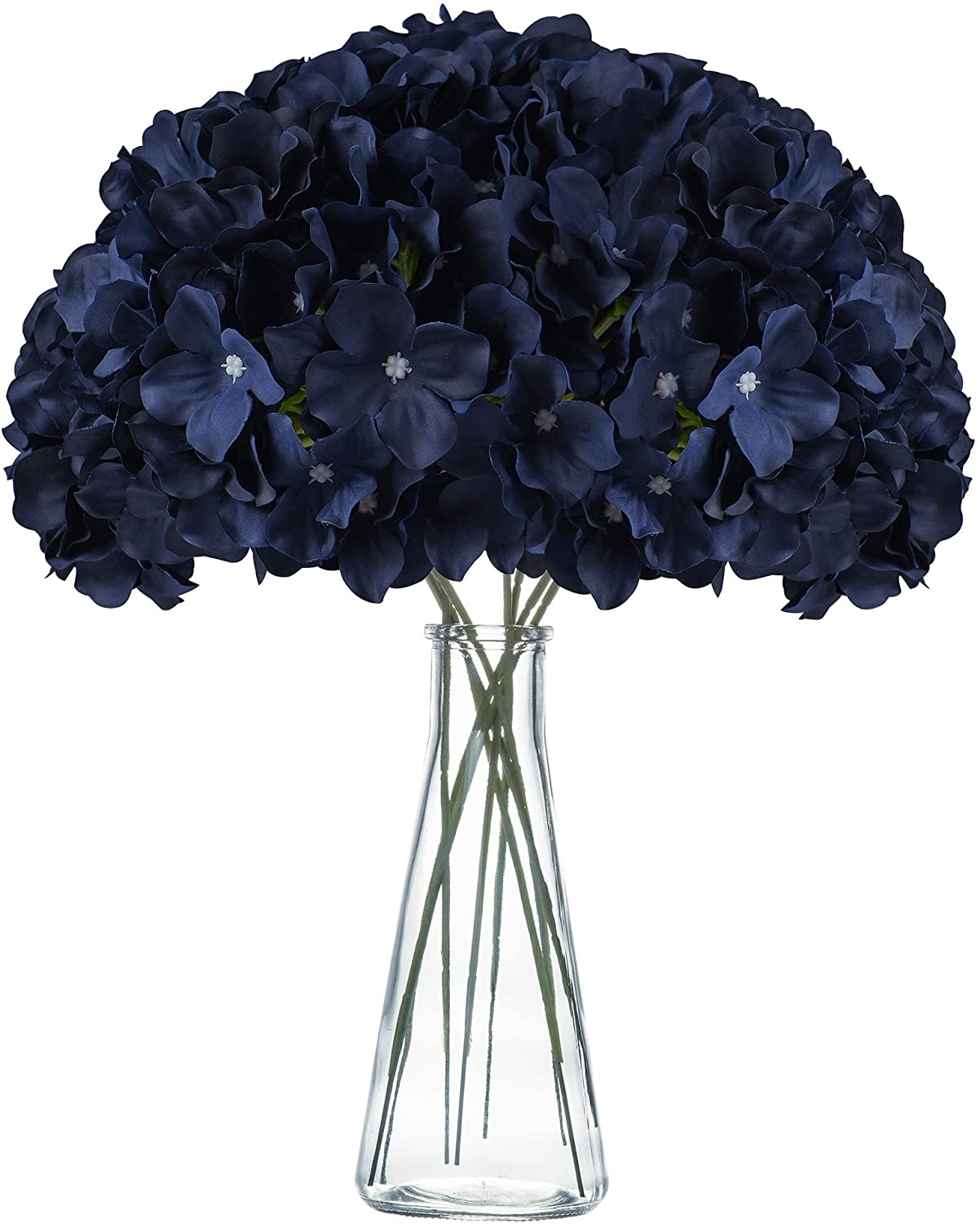 VARWANEO Navy Blue Hydrangea Silk Fake Flowers Heads with Stems, Artificial Flowers for Decoration Wedding Rome Party Shop Baby Shower,Room Decor for Bedroom Aesthetic, Pack of 12