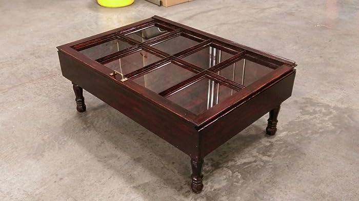 Beautiful Wood Shadow Box Coffee Table   Window Coffee Table   Display  Coffee Table   Storage