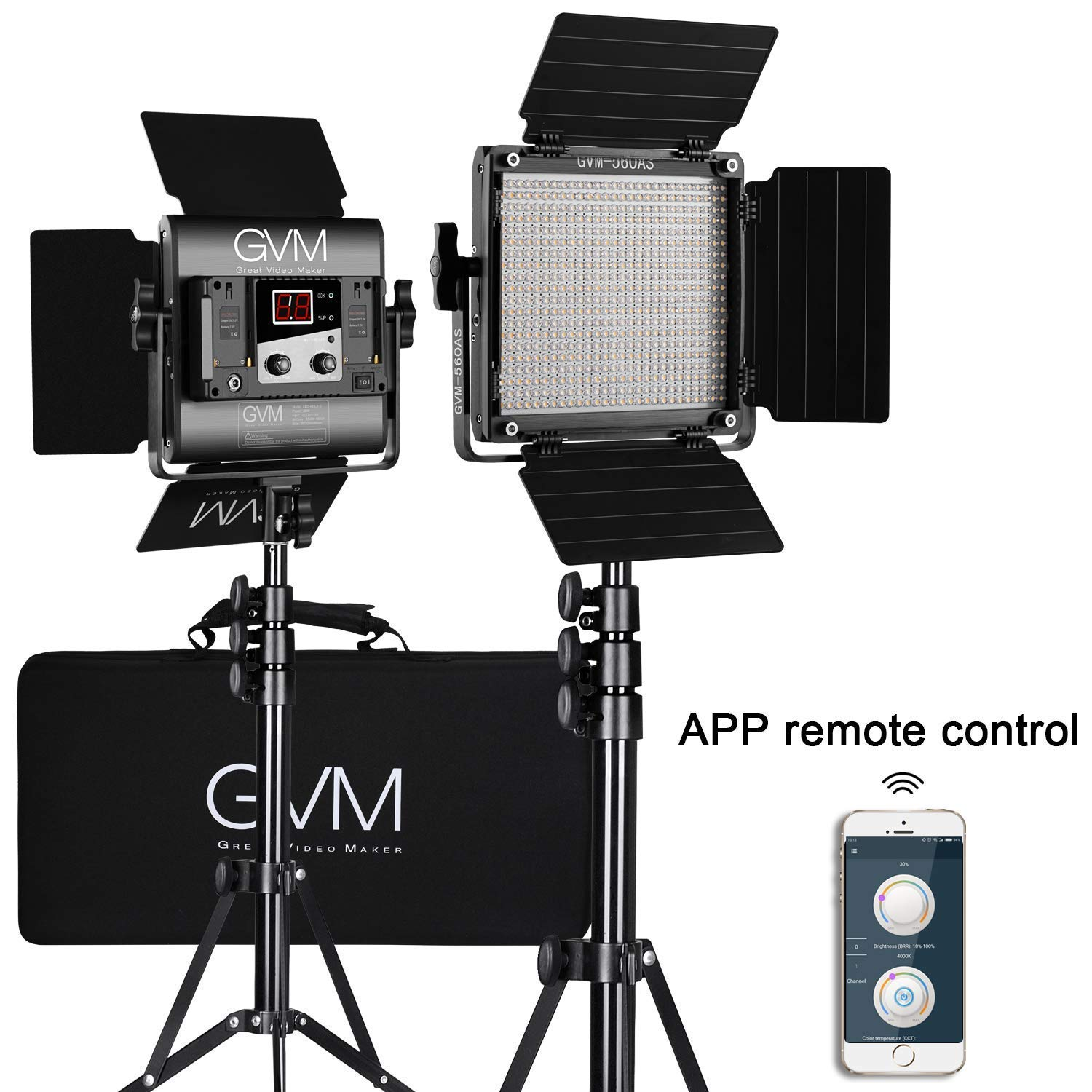 GVM 560 LED Video Light, Dimmable Bi-Color, 2 Packs Photography Lighting with APP Intelligent Control System, Lighting for YouTube, Studio, Outdoor, Video Lighting Kit, 2300K-6800K, CRI 97+ by GVM Great Video Maker