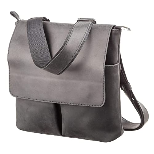 19b5cc8c2bef Shvigel Small Messenger Bag for Men - Vintage Leather - Vertical Mini  Crossbody Satchel - iPad