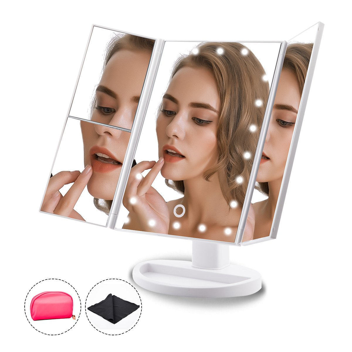 Makeup Mirror Trifold 22 Led Lighted with Touch Screen, Travel Vanity Mirror, 1x/2x/3x Magnification and Dual Power Supply, 180° Rotatable for Women Cosmetic Makeup by Toleap (White)