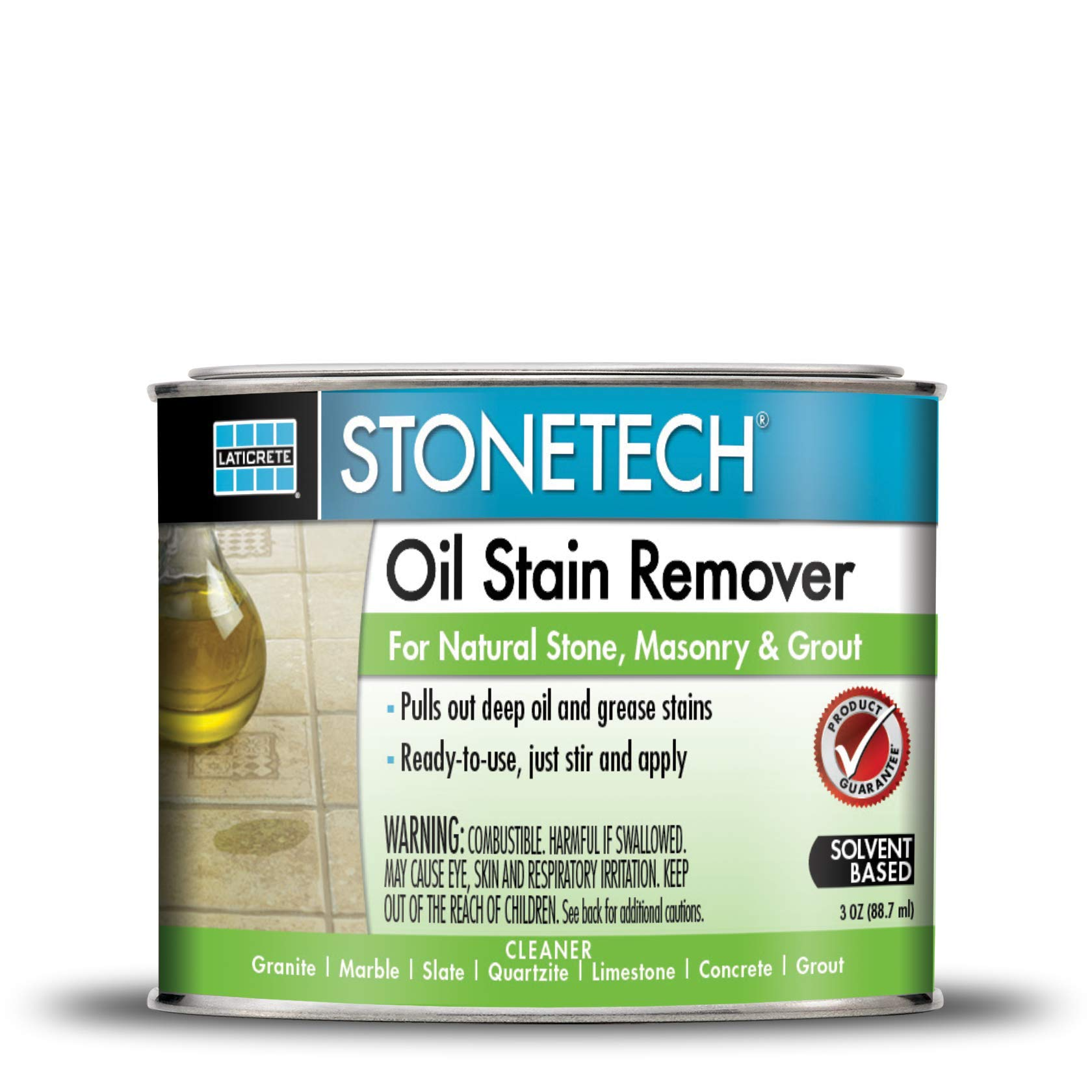 StoneTech Oil Stain Remover, Cleaner for Natural Stone, Grout, & Masonry, 3-Ounces (.089L)